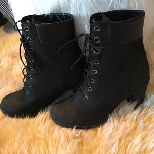 Timberland shoes heeled black boot